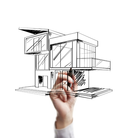 roof windows: hand drawing modern cottage on a white background Stock Photo