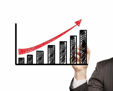 graficos de barras: mano dibujo calendario de crecimiento empresarial