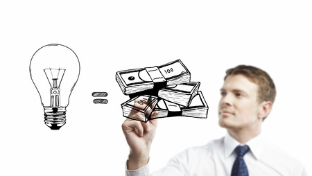 businessman drawing  idea is money concept photo