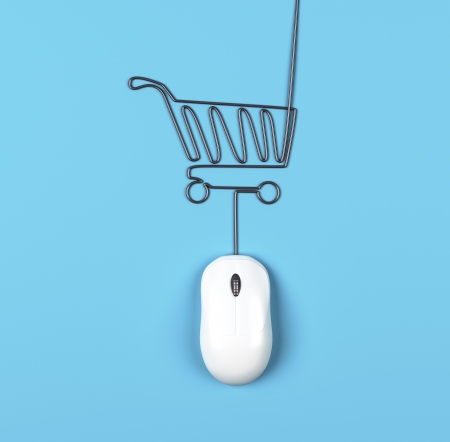 mouse and trolley in form of lamp on a blue background photo