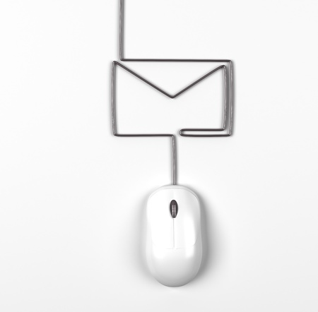 3d mouse: mouse and envelope in form of lamp on a white background