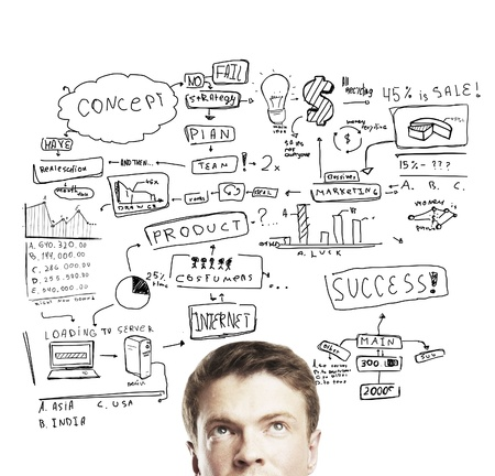 whiteboard: pensive young man with business plan concept Stock Photo