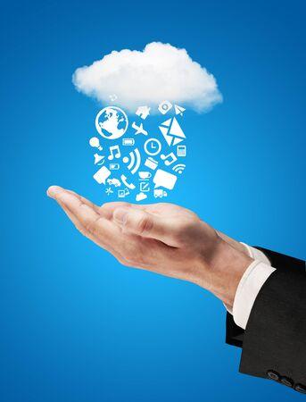 hands cloud falling social network concept photo