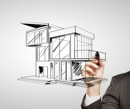 hand drawing modern house on a white background photo