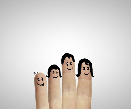 fingers family  on a white background photo