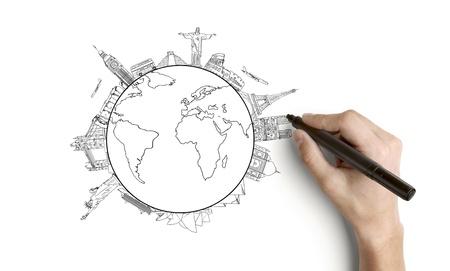 hombre escribiendo: mano tierra de dibujo sobre un fondo blanco
