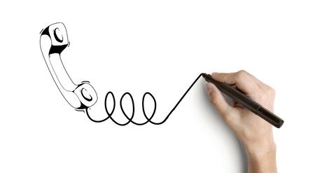 rotulador: mano microteléfono dibujo sobre un fondo blanco