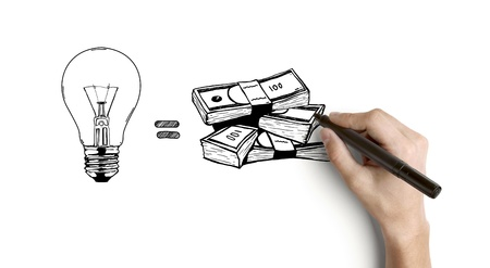 pencil sketch: hand drawing business formula on a white background