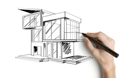 hand drawing cottage on a white background photo