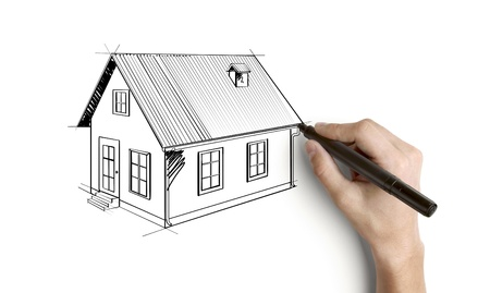 hand drawing house on a white background photo