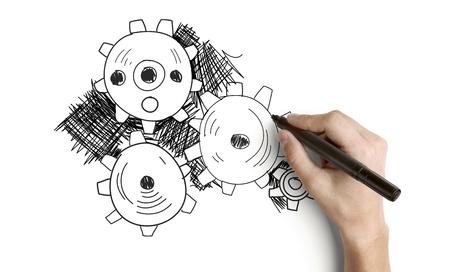 color image creativity: engranajes manuales de dibujo abstracto sobre un fondo blanco