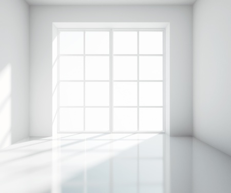 empty  light white room with window photo