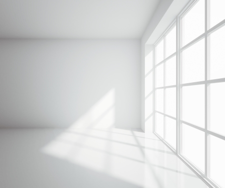 illuminated wall: light white room with window Stock Photo