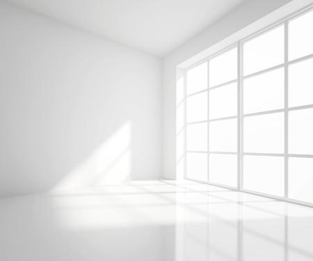 pokoj: Vysoké rozlišení bílé místnosti s oknem Reklamní fotografie