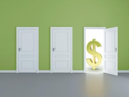 concept of opened door to big money photo
