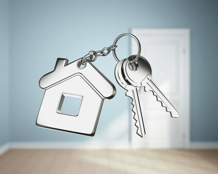 keychain: key with keychain on blue rooms