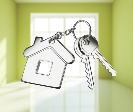 keychain: key with keychain on green rooms