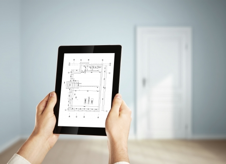 House Plan on  digital tablet in  room photo