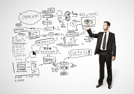 whiteboard: businessman drawing plan strategy success Stock Photo