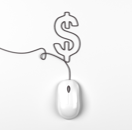 mouse and cables in form of dollar on a white background photo