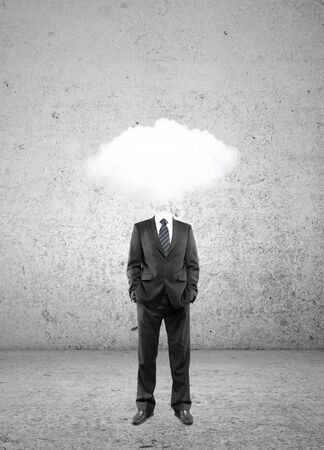 man cloud  head on brick wall background photo