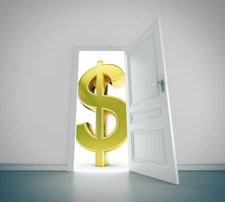 door to big money, closeup photo
