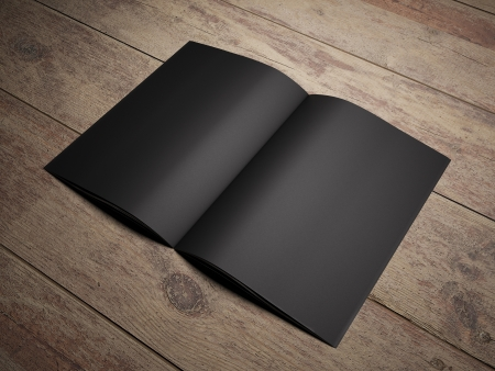 3d render open black book on wooden texture photo