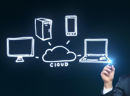 hand drawing cloud computing diagram photo