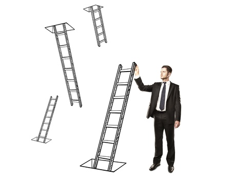 man drawing ladder on a white background photo