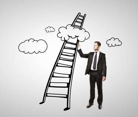 man drawing ladder and clouds photo