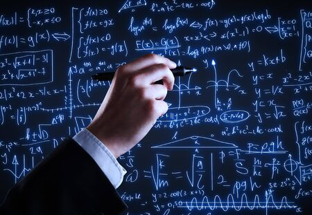mathematical proof: hand drawing formulas on a blue  board Stock Photo