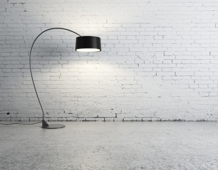 concrete blocks: floor lamp in brick room
