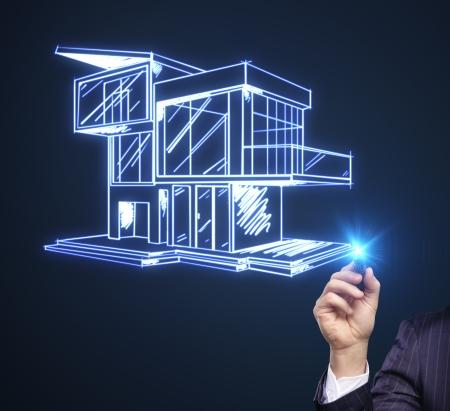 toiture maison: chalet dessin � main moderne sur un fond bleu