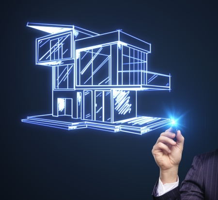 modern house sketch: hand drawing modern cottage on a blue background
