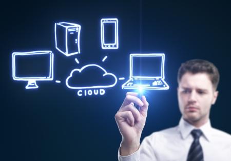man drawing cloud computing diagram photo