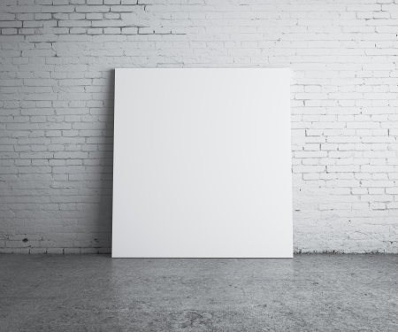 cracked wall: blank picture hanging on wall Stock Photo