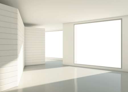 modern  light white room with window photo