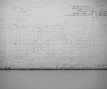 amaged: high resolution white brick wall and floor Stock Photo