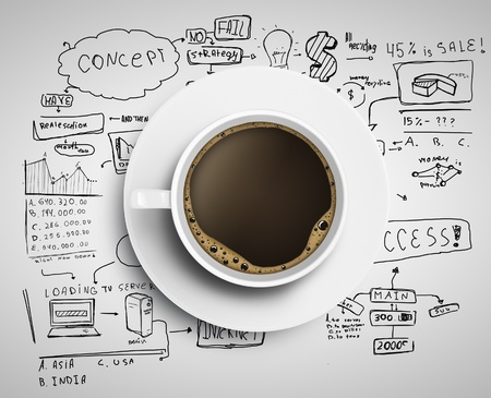froth: coffee cup and business strategy on a white background