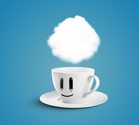 happy cup with cloud on a blue background photo