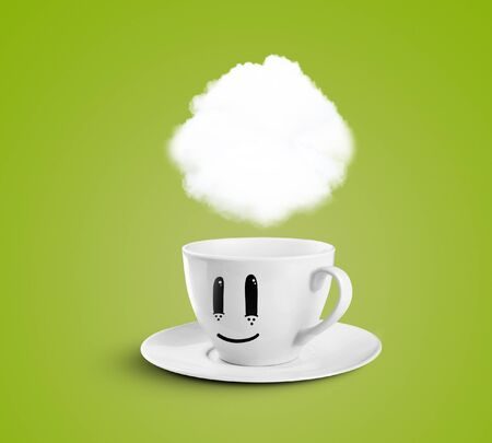 happy cup with cloud on a green background photo