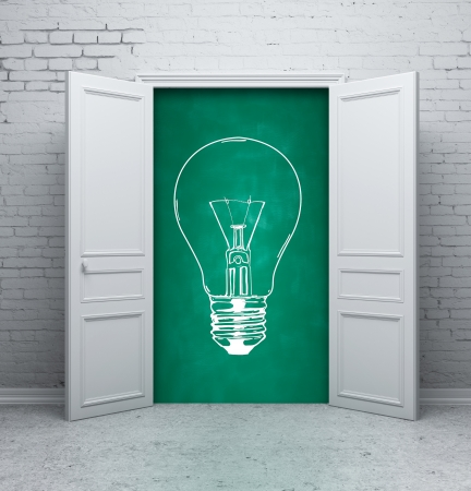 mathematical proof: drawing lamp on school board in door Stock Photo
