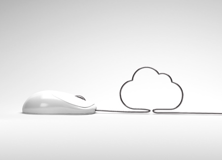 mouse and cables in form of cloud on a white background photo