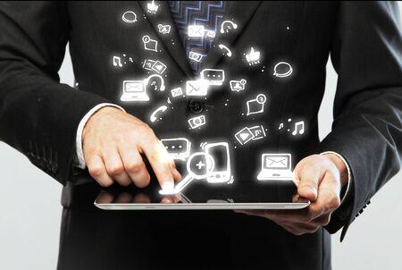 digital table in hand, social media icon Stock Photo - 15478602