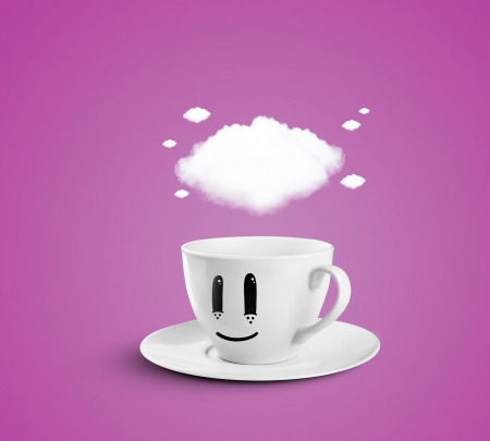 happy cup with cloud on a pink background photo