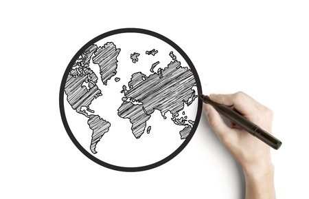 hand drawing globe on a white background photo
