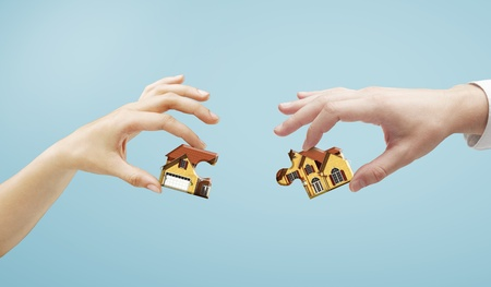 house puzzle in hands, closeup photo