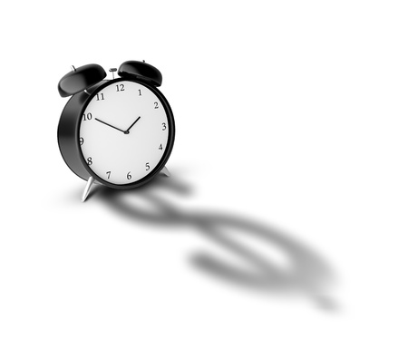 Alarm clock and shadow in form of dollar photo