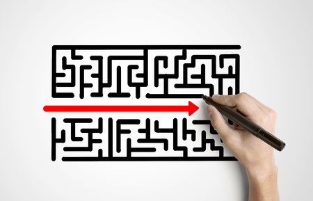 hand drawing maze and red arrow Stock Photo - 15788341