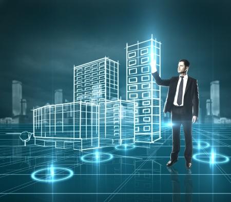 virtual community: businessman presses skyscraper, high resolution